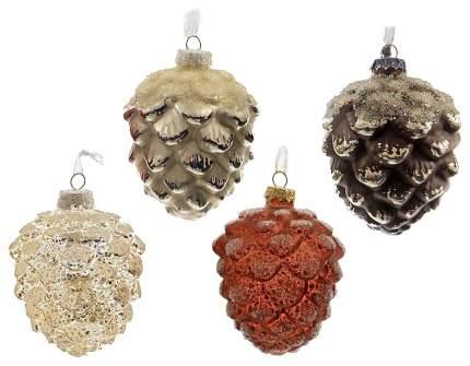 Kaemingk Набор стеклянных елочных игрушек Шишки Лесные Заснеженные 10 см, 12 шт *