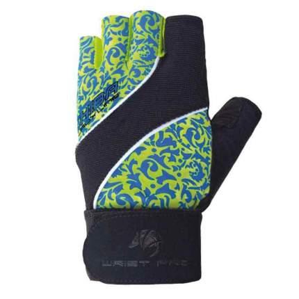 Перчатки для тяжелой атлетики и фитнеса Chiba Lady Wristpro, голубые/зеленые/черные, S