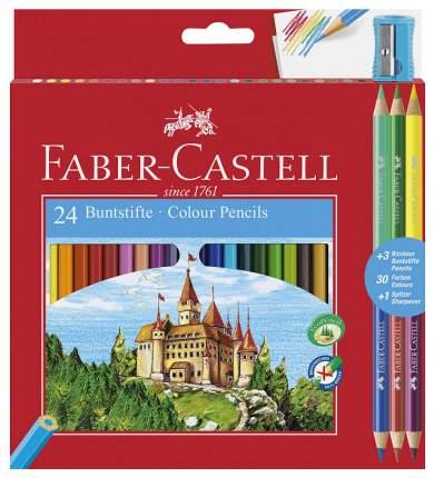Цветные карандаши Faber-Castell Замок: 24 шт + 3 двухцветных карандаша + точилка