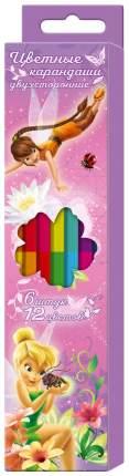"""Цветные карандаши двухсторонние DISNEY """"Феи"""" 6 штук - 12 цветов, 29076"""