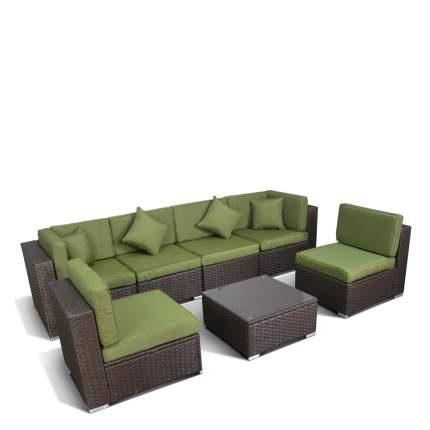 Плетеный модульный диван YR822BG Brown/Green