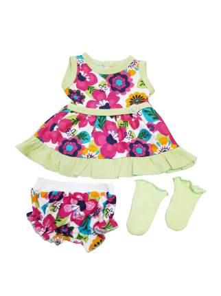 Платье, трусики и носочки для куклы Колибри 106 в цветочек