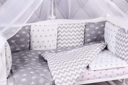 Комплект в кроватку 15 предметов (3+12 подушек-бортиков) AmaroBaby ROYAL BABY серый (бязь)