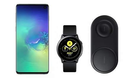 Смартфон Samsung Galaxy S10 128Gb Aq+часы Watch Active+беспроводная зарядка EP-P5200
