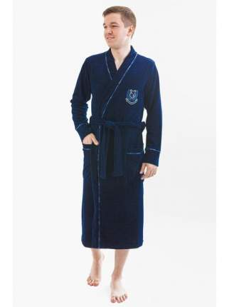 Мужской велюровый халат LikaDress синий 813, р.52
