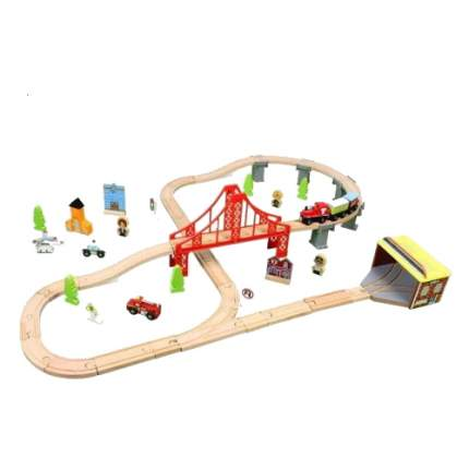 Деревянная железная дорога, 70 деталей AnimWorld