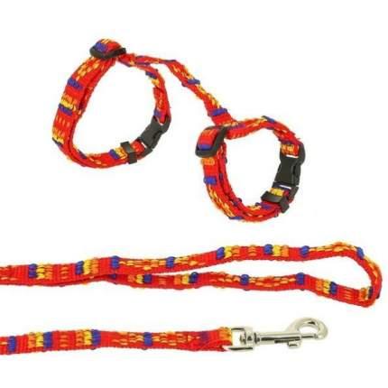 Комплект Каскад Орнамент Поводок и шлейка нейлон красный для кошек 120см + 15/25см
