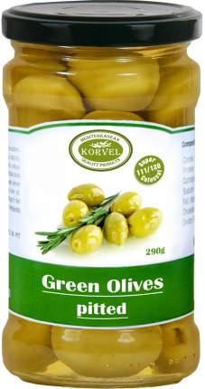 Натуральные зеленые оливки без косточки Korvel колоссал 290 г