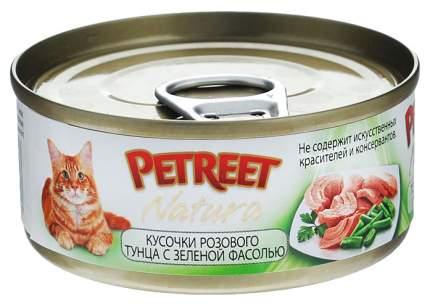 Консервы для кошек Petreet Natura, розовый тунец, зеленая фасоль, паштет, 70 г 12 шт
