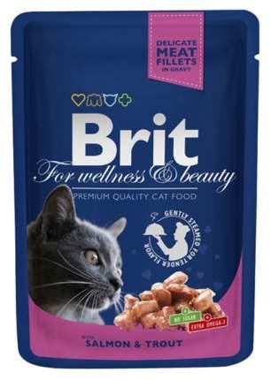 Влажный корм для кошек Brit Premium, лосось, рыба, 24шт, 100г