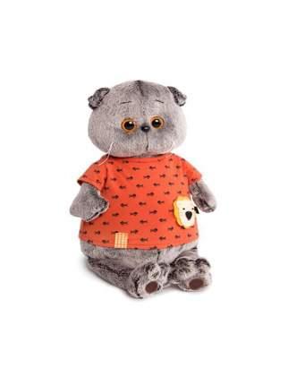 Мягкая игрушка BUDI BASA Кот Басик в оранжевой футболке в рыбки с львенком, 30 см