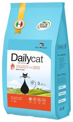 Сухой корм для кошек Dailycat Senior, для пожилых, индейка с рисом, 3кг