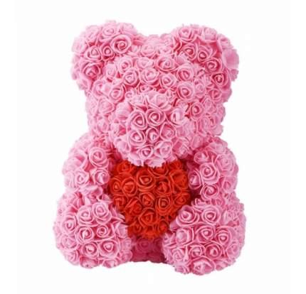 Мишка из роз с красным сердцем розовый 40см + подарочная коробка