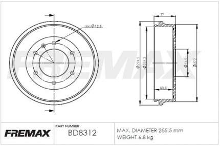 Тормозной барабан FREMAX BD-8312