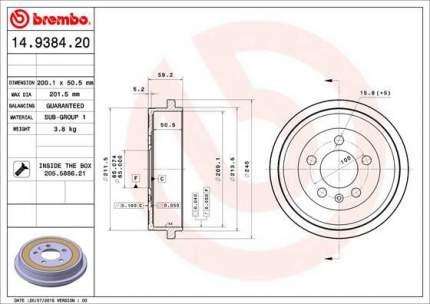 Тормозной барабан BREMBO 14.9384.20