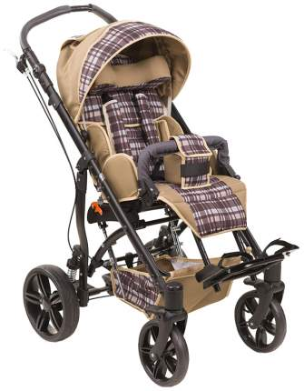 Кресло-коляска Meyra Junior для детей ДЦП коричневая клетка-серый пневматические