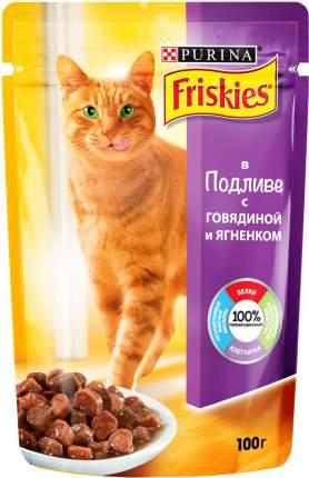 Влажный корм для кошек Friskies, с говядиной и ягненком в подливе, 20шт по 100г