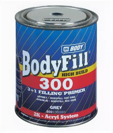 Двухкомпонентный порозаполняющий грунт BODY 300 3+1, серый, 1 кг (44-026)