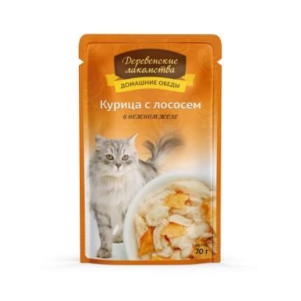 Влажный корм для кошек Деревенские лакомства, с курицей и лососем в желе, 70г
