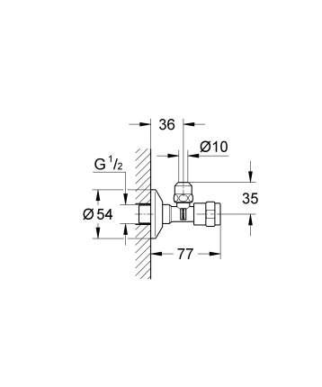 Вентиль для подключения GROHE, угловой 1/2″, хром