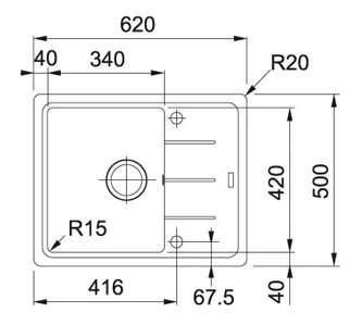 Мойка для кухни гранитная Franke Basis BFG 611C 1140280847 антрацит