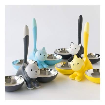 Двойная миска для кошек Alessi, пластик, сталь, желтый, 2 шт по 0.2 л