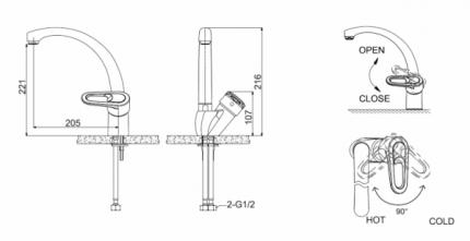 Смеситель для кухонной мойки BRAVAT F7124182CP-RUS