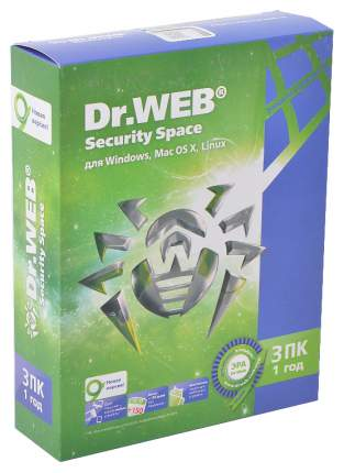 Антивирус Dr.Web Security Space Pro AHW-B-12M-3-A3 на 3 устройства 12 мес.