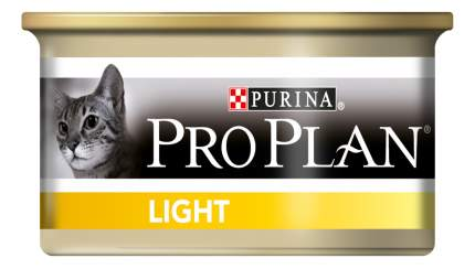 Консервы для кошек PRO PLAN Light, индейка, 24шт, 85г