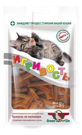Green Qzin Лакомство Игривость (бризоль из кальмара) для кошек, 50г