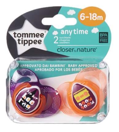 Набор детских пустышек tommee tippee Any Time (6-18 мес.) 2 шт. оранжевые