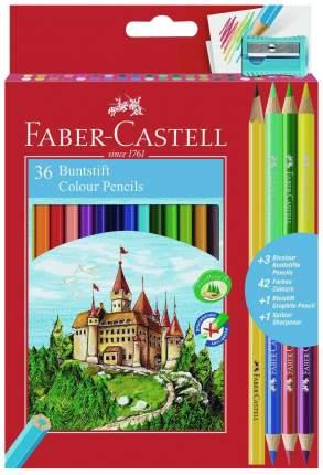 Цветные карандаши Faber-Castell Замок: 36 шт + 3 двухцветных + 1 чернографитовый