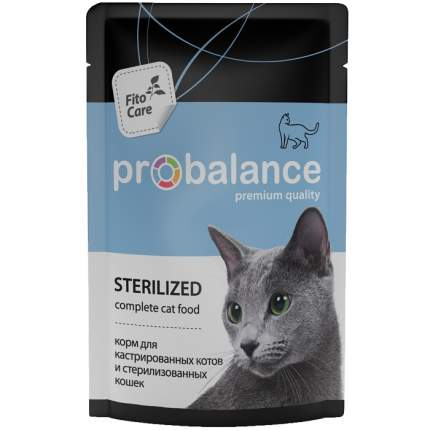 Влажный корм для кошек ProBalance Sterilized, курица, 25шт, 85г