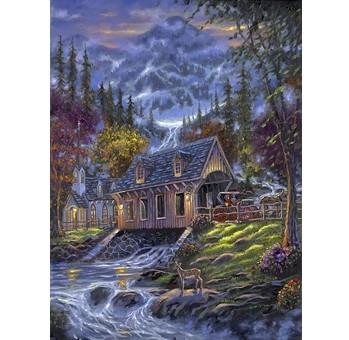 """Холст с красками """"Рисование по номерам. Домик над рекой и горы"""", 40x50 см"""