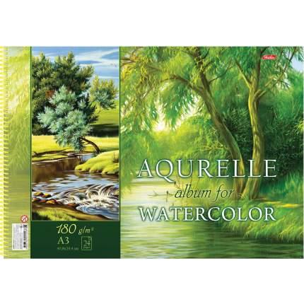 Альбом для акварели HATBER А24Аа3Впс 18301, A280898, А3, 24 л, спираль, Природа