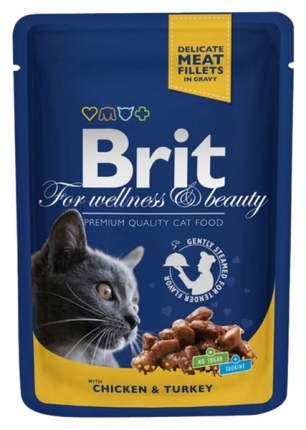 Влажный корм для кошек Brit Premium, курица, индейка, 24шт, 100г