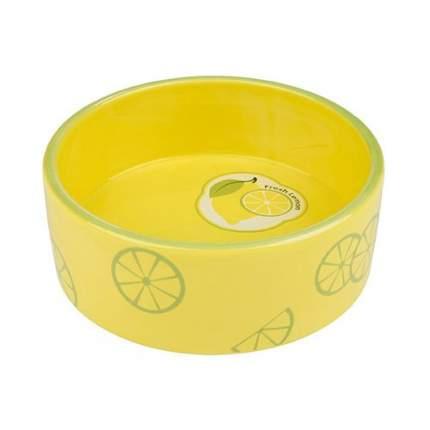 Одинарная миска для кошек и собак TRIXIE, керамика, желтый, зеленый, 0.8 л
