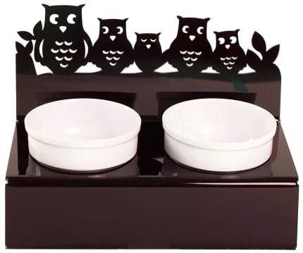 Двойная миска для кошек Artmiska, керамика, пластик, белый, коричневый, 2 шт по 0.35 л