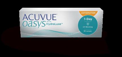 Контактные линзы Acuvue Oasys 1-Day with HydraLuxe for Astigmatism 30 линз 0,00/-0,75/180