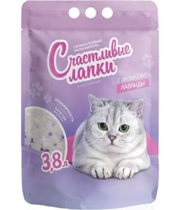 Впитывающий наполнитель для кошек Счастливые Лапки силикагелевый, лаванда, 1.38 кг, 3.8 л