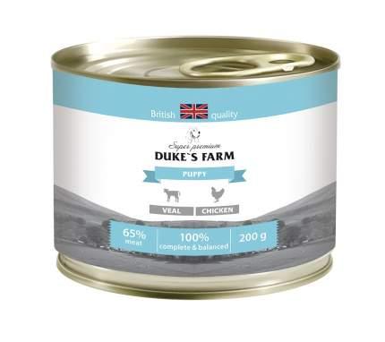 Консервы для щенков DUKE'S FARM, курица, телятина, 200г