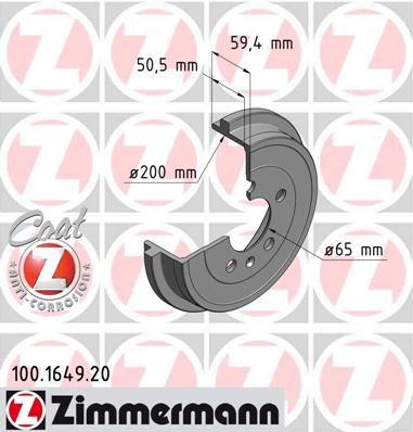 Тормозной барабан ZIMMERMANN 100.1649.20