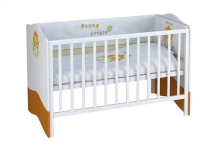 Кровать-трансформер Polini Basic 140х70 см Джунгли бело-оранжевая