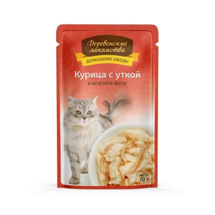 Влажный корм для кошек Деревенские лакомства, с курицей и уткой в желе, 70г