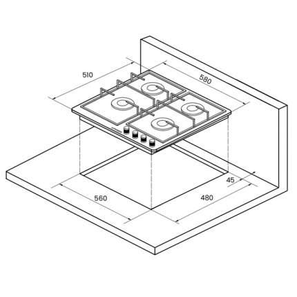 Встраиваемая варочная панель газовая KUPPERSBERG FQ663 W White