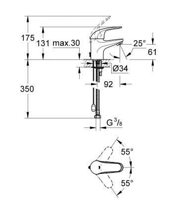 Смеситель для раковины Grohe Euroeco new 32881000 хром