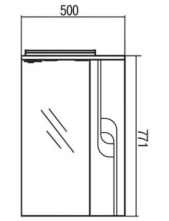 Шкаф-зеркало для ванной Акватон Панда 50R, белый (1A007402PD01R)