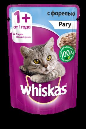 Влажный корм для кошек Whiskas рагус форелью, 24 шт по 85г