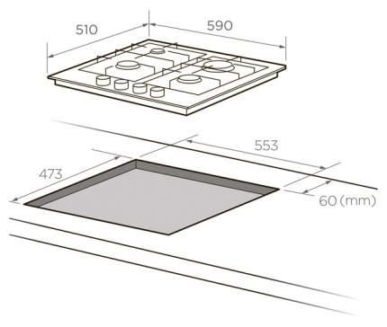 Встраиваемая варочная панель газовая Midea MG613TX Silver