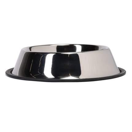 Одинарная миска для кошек и собак Ankur, металл, резина, серебристый, 0.7 л